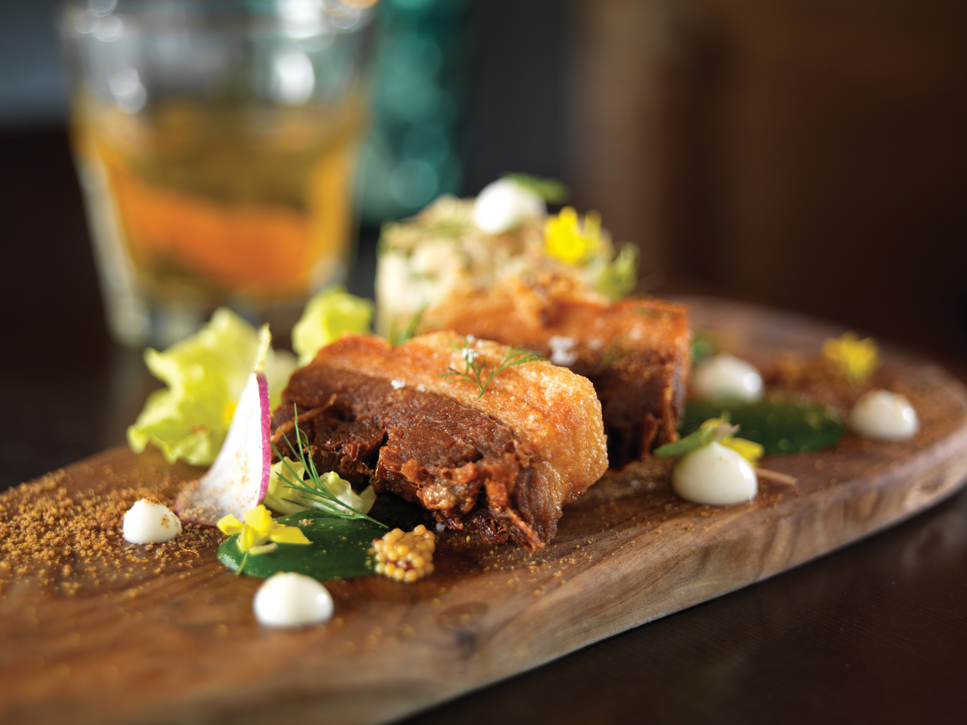 Crispy Pork Belly with Creamy Potato Salad, Pickled Mustard Seeds ...