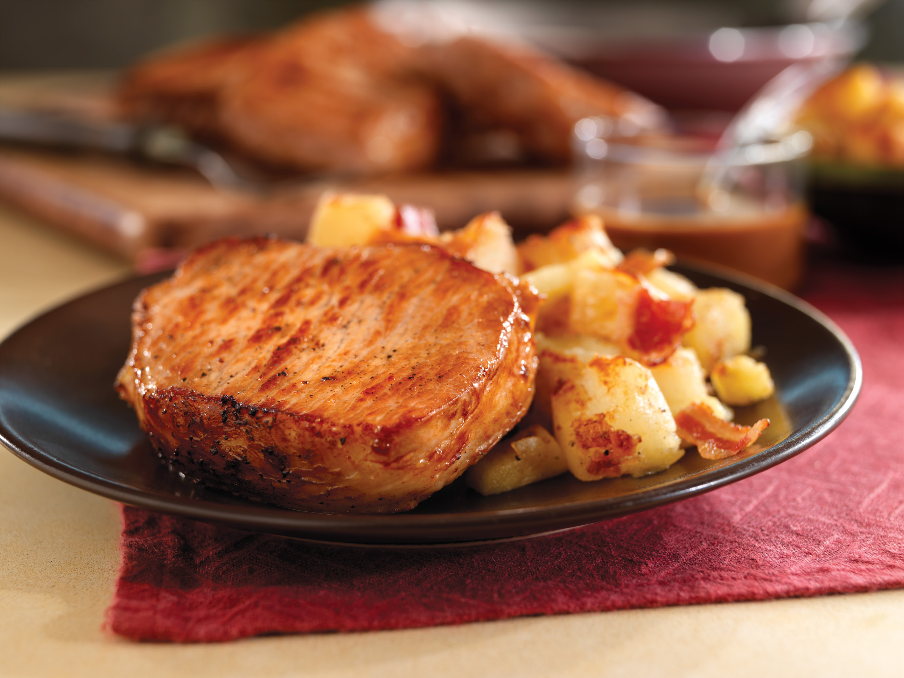 Pan-Seared Pork Chops with Maple Gravy & Apple Bacon Hash ...