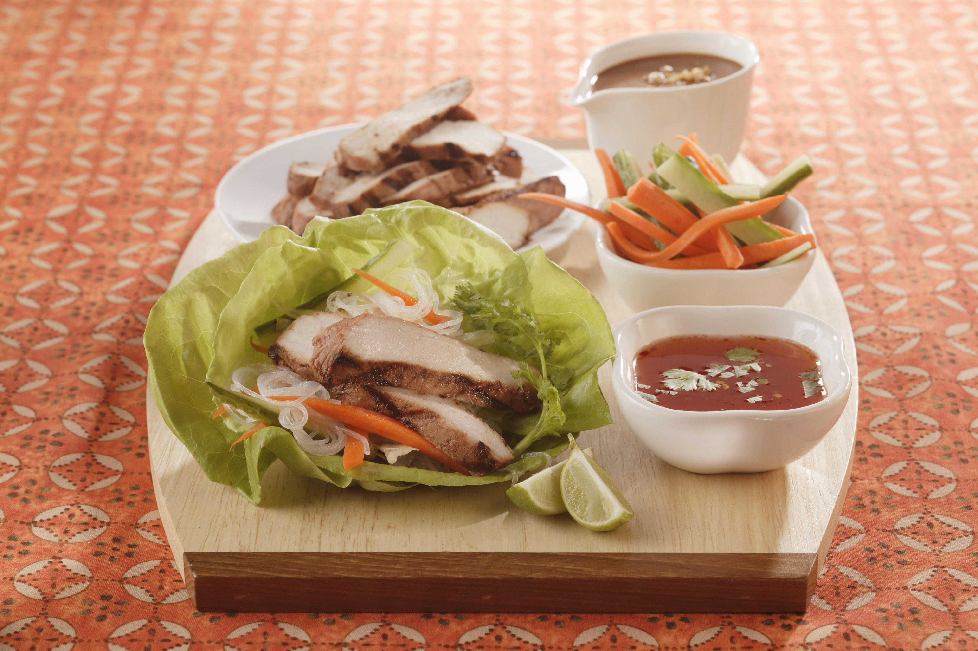 Thai Lettuce Wraps with Satay Pork Strips - Pork Recipes - Pork Be ...