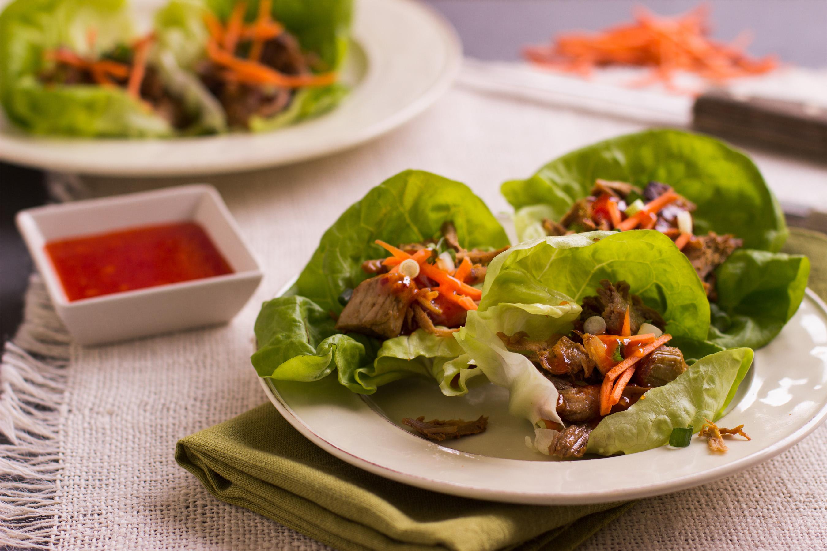 Shredded pork lettuce wraps recipe