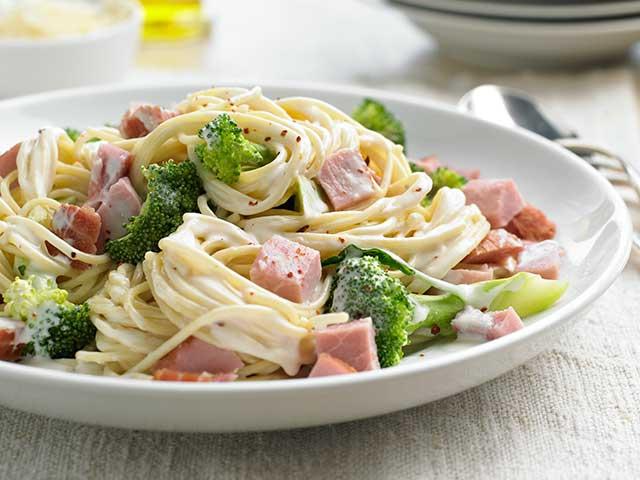 Ham and Spaghetti Alfredo