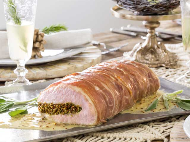 Prosciutto-Wrapped Pork Roast with White Wine and Herbs