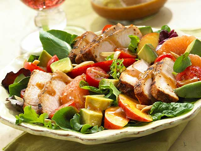 BBQ Pork Salad with Summer Fruits & Honey Balsamic Vinaigrette