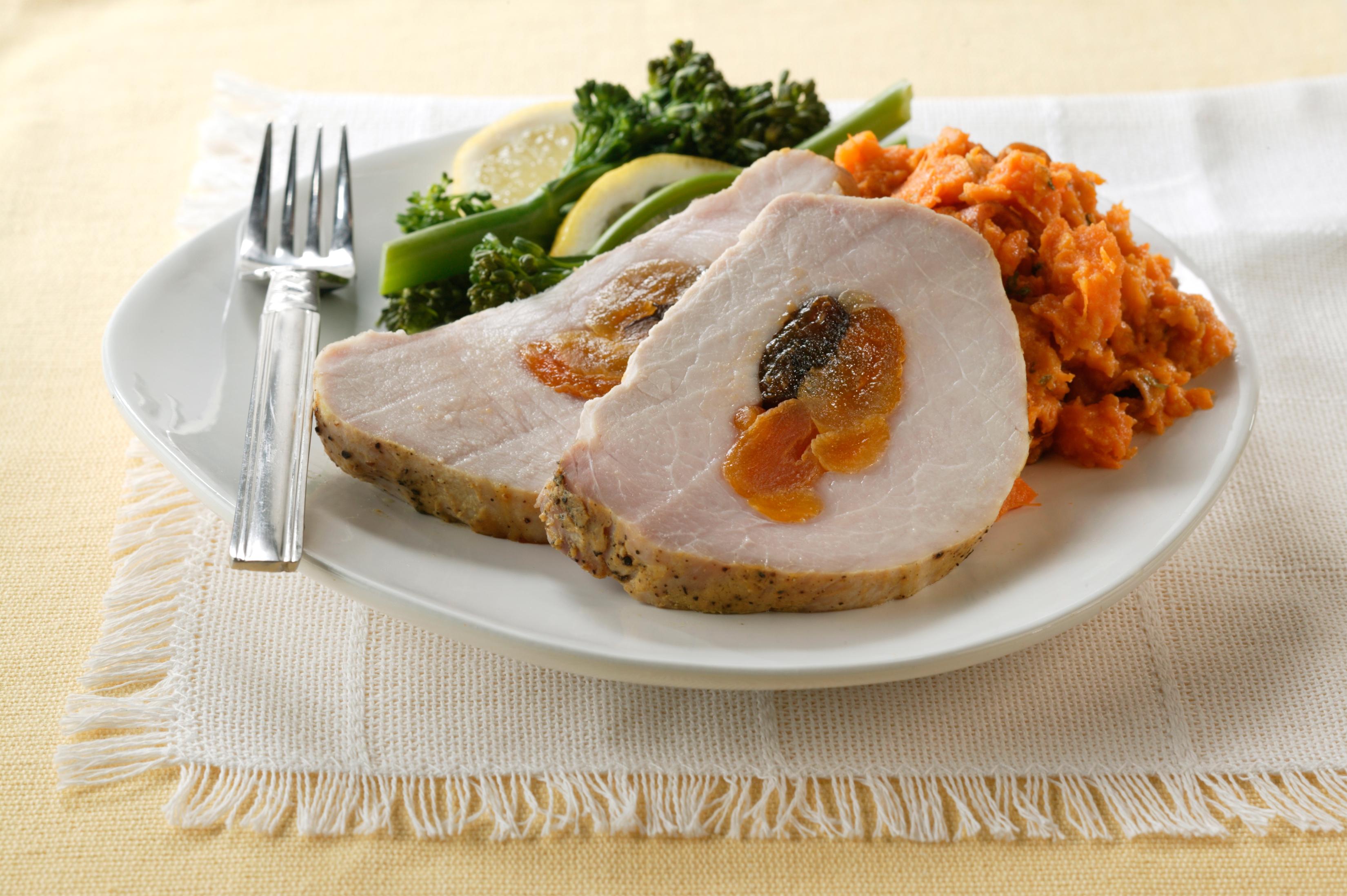Fruit-Stuffed Pork Loin with Dijon-Garlic Crust - Pork Recipes - Pork ...