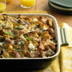 Pork Roast Strata with Green Chiles and Goat Cheese