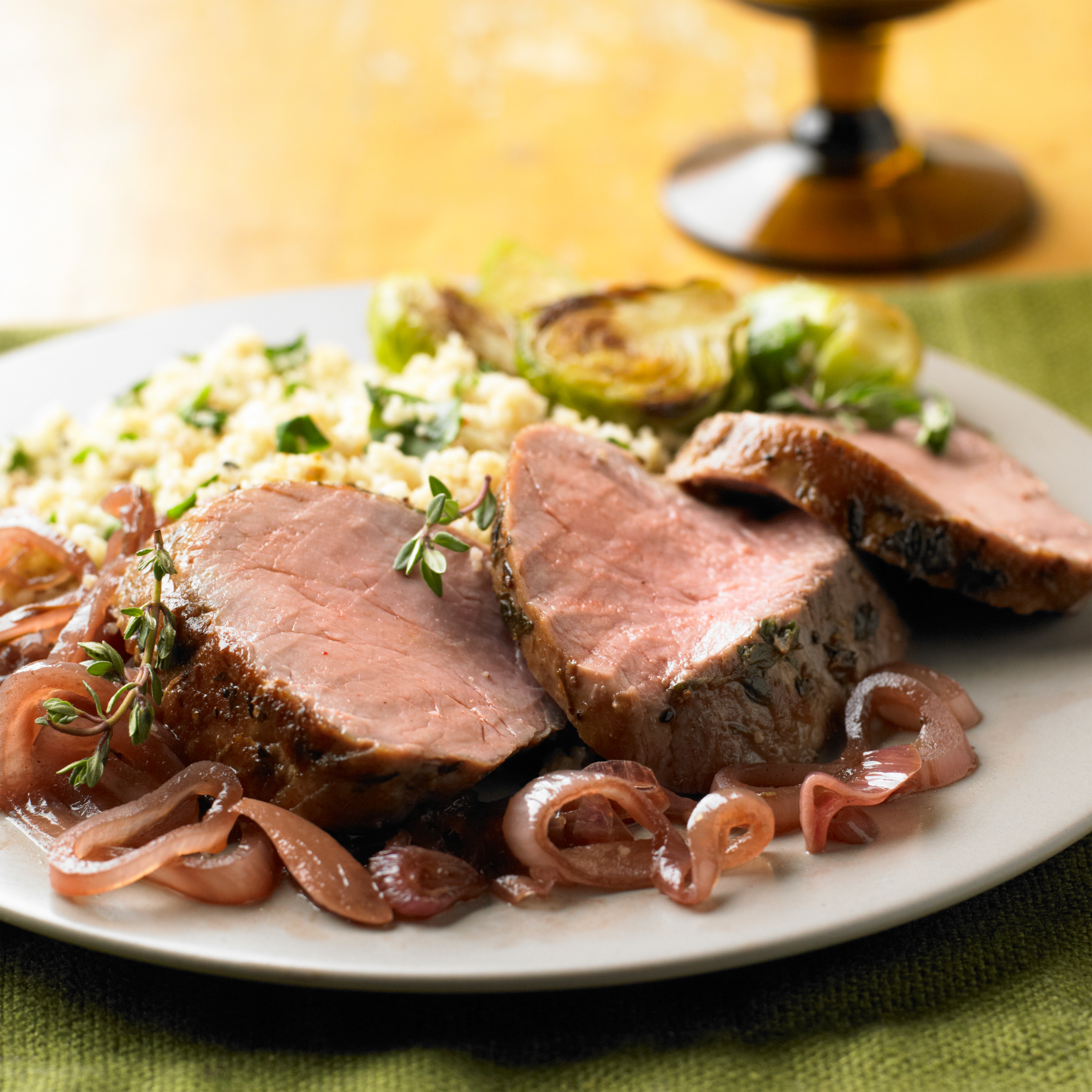 Thyme-Roasted Pork Tenderloin with Balsamic Shallot Compote - Pork ...