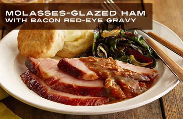 molasses-glazed-ham-with-bacon-red-eye-gravy