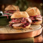 Roast Pork Tenderloin Sliders with Cranberry Sauce and Pickled Onions
