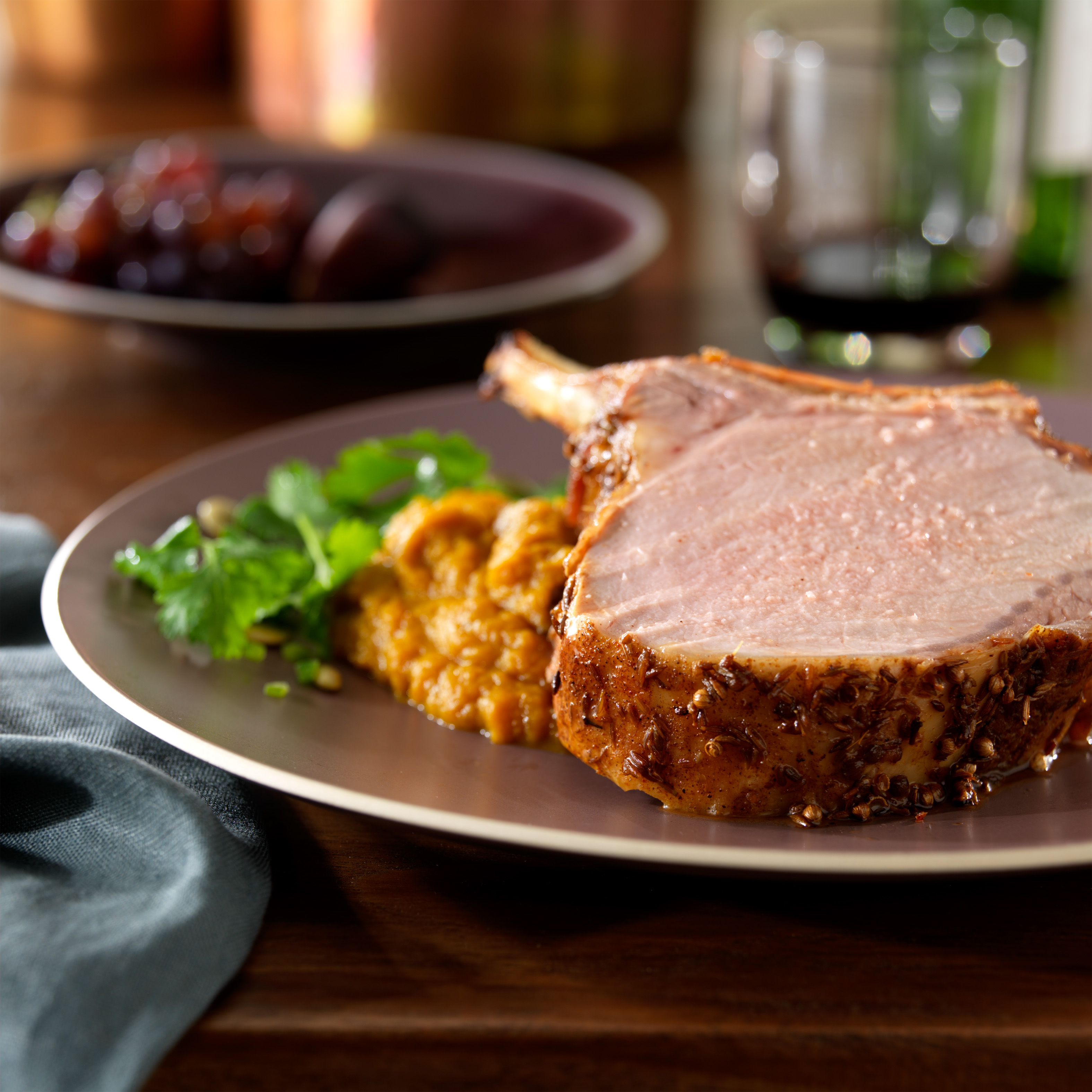 Coriander and cumin roasted rack of pork with five spice pumpkin puree and a chile pumpkin seed - Christmas pork roast five recipes ...