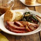 Molasses-Glazed Ham with Bacon Red-Eye Gravy