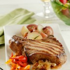 Stuffed Pork Chops with Beer-Glazed Onions
