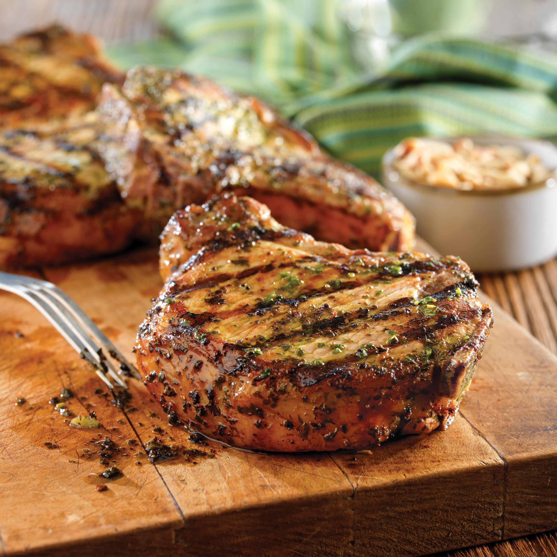 Grilled Pork Chops with Basil-Garlic Rub - Pork Recipes ...