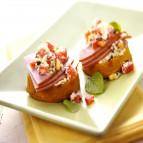 Breakfast Polenta Crostini with Ham & Wisconsin Asiago