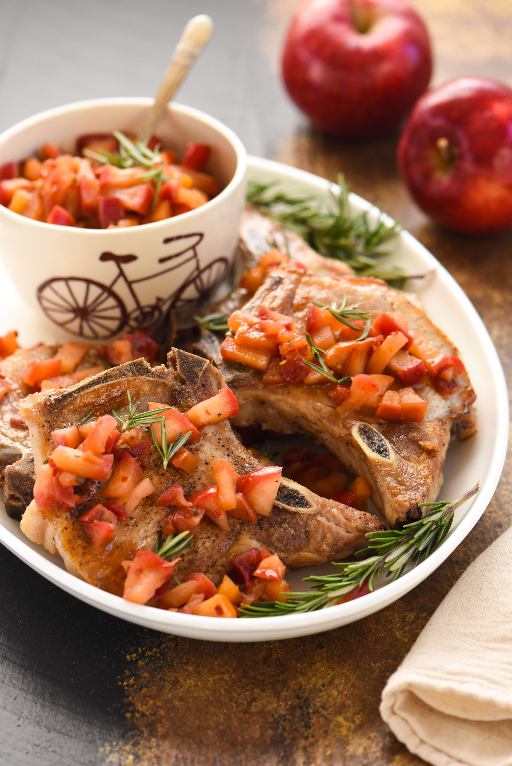 Pork Chops with Spicy Applesauce - Pork Recipes - Pork Be Inspired