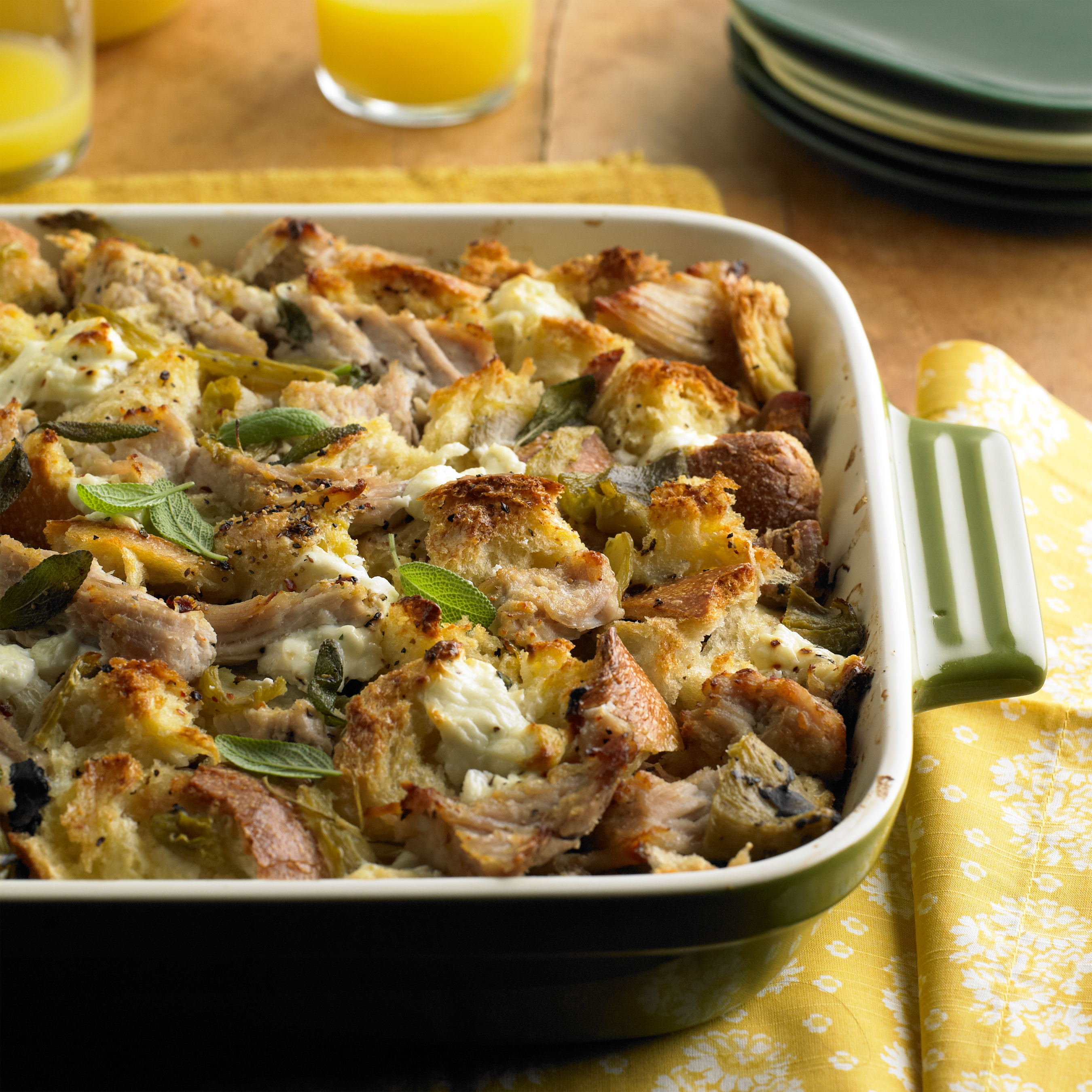 pork roast strata with green chiles and goat cheese pork