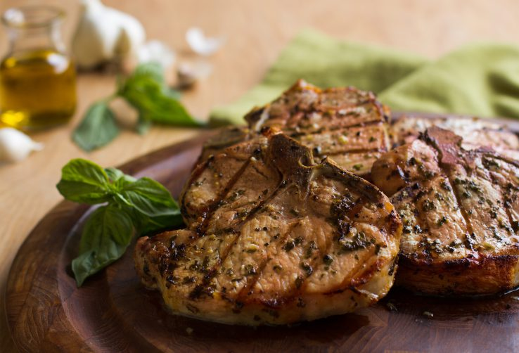 Basil-Garlic Porterhouse Pork Chops