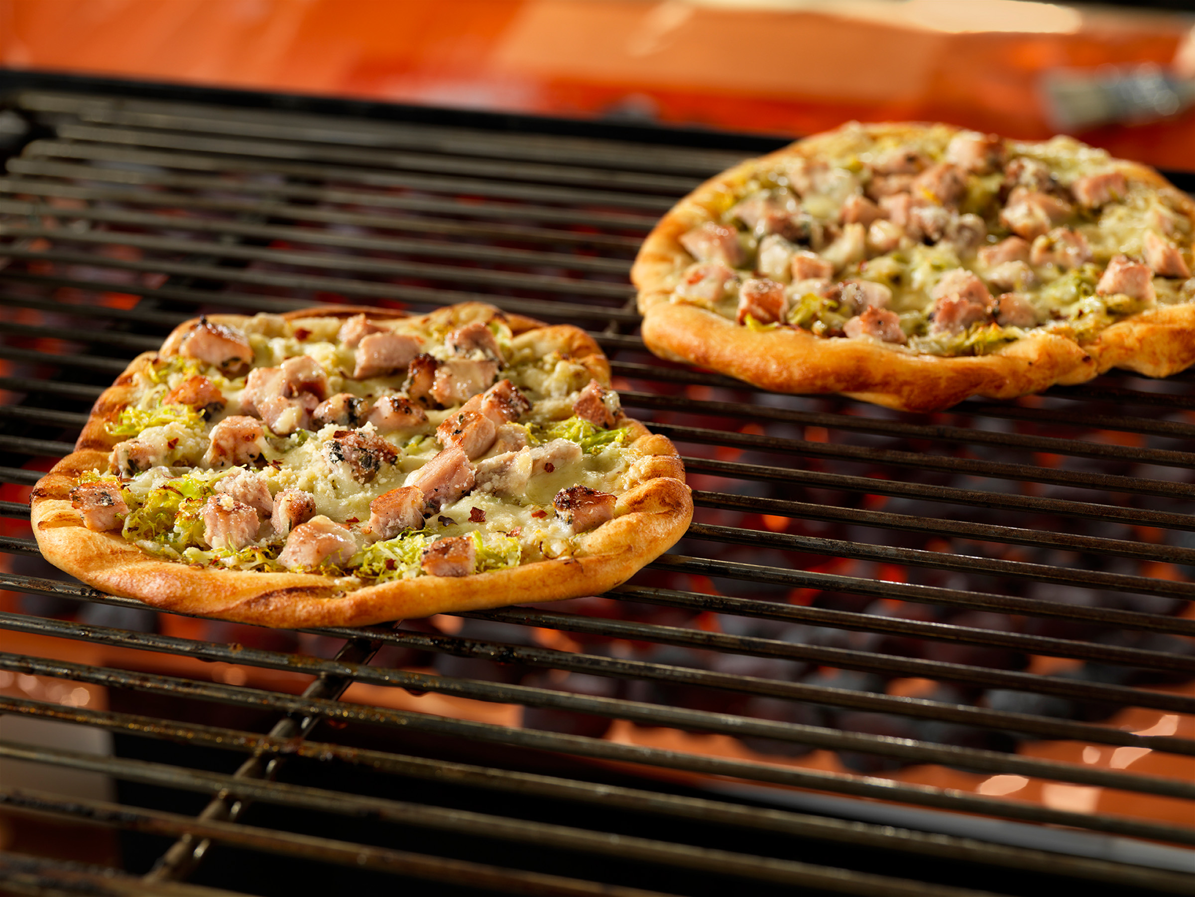 Grilled Pizzas with Herbed Pork and Brussels Sprouts ...