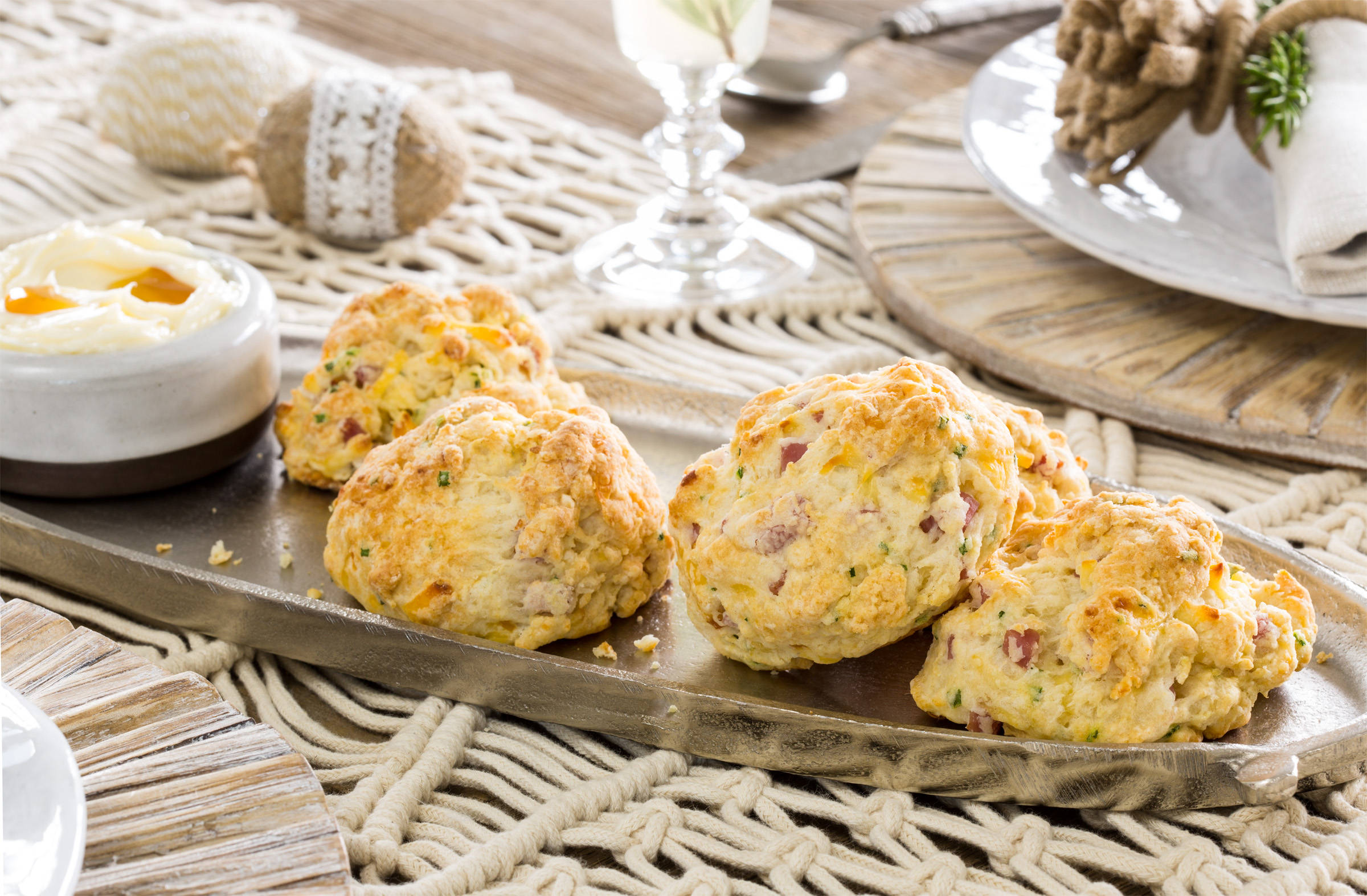 Ham and Smoked Gouda Biscuits with Maple Butter - Pork Recipes - Pork ...