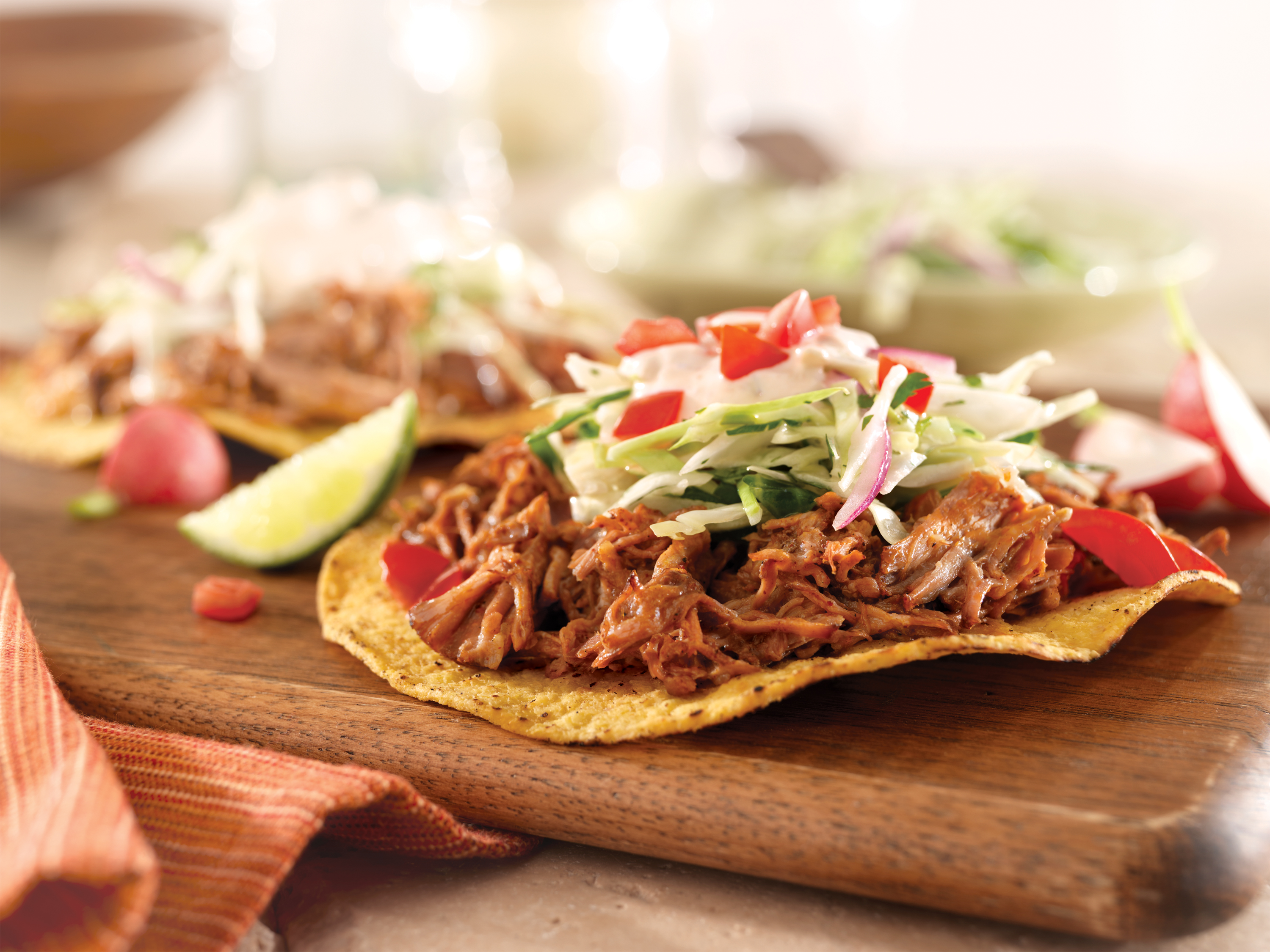 Pulled Pork Tostadas With Slaw And Chipotle Cream Pork