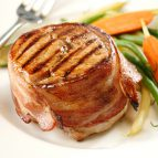 Bacon-Wrapped Pork Medallions with Garlic-Mustard Butter