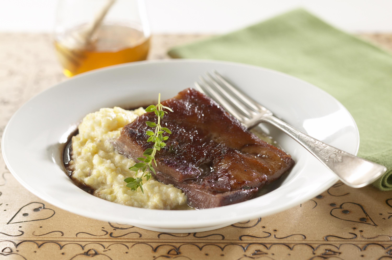 Braised Pork Belly with Creamy Grits - Pork Recipes - Pork ...