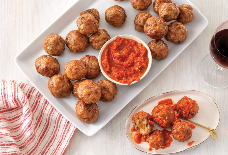 Stuffed Pork Meatballs with Romesco