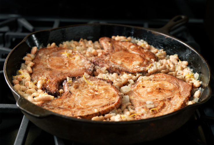 Baked Pork Loin Chops with Parmesan White Beans